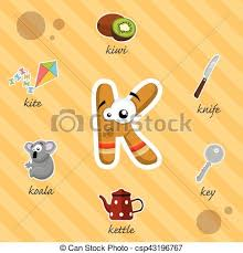 clip art vector of letter k with words funny letter r with words