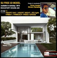 free sketchup 3d model rocafort house 40 vray render day scene