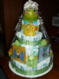 my attempt at a gender neutral diaper cake as a baby shower gift