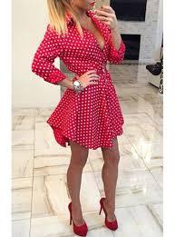 casual mini dress long sleeves black with white polka dots