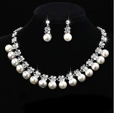 brand new pearl necklace images Fashion jewellery pearl necklace earring set bride wedding jewelry jpg