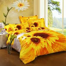 Sunflower Bed Set Bright Yellow Orange And White Sunflower Print 100 Cotton