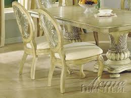 ACME Furniture ACME Antique White Double Pedestal Dining - Antique white pedestal dining table