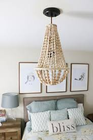 Chandelier Lamp Shades With Beads Remodelaholic How To Make A Wood Bead Chandelier