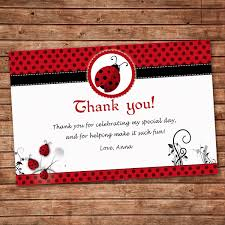 ladybug thank you cards greeting cards personalized dinner party