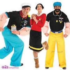 Popeye Olive Oyl Halloween Costumes Mens Womens Popeye Olive Oyl Brutus Licensed Fancy Dress