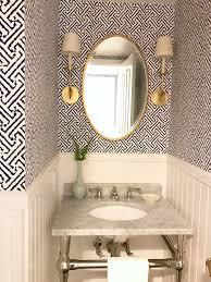 fresh indigo white aged brass powder room and laundry room before