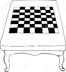 chess table high angle view on outline sketch of 18th century chess table