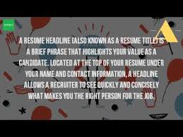Meaning Of Resume Headline What Is A Headline On A Job Application Youtube