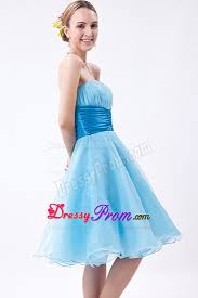 baby blue a line knee length ruche dresses for prom night