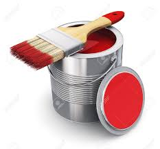 red paint metal tin can with red paint and paintbrush isolated on white