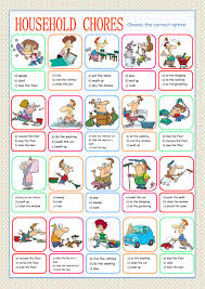 Esl Vocabulary Worksheets Household Chores Multiple Choice Interactive Worksheet Daily