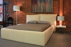 Maple Wood Bedroom Furniture Japanese Maple Wood Platform Bed With Square White Tone Headboard