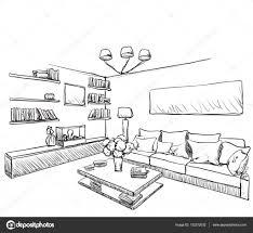 Room Sketch Hand Drawn Room Interior Furniture Sketch U2014 Stock Vector