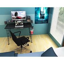 Atlantic Furniture Gaming Desk Black Carbon Fiber Walmart Com