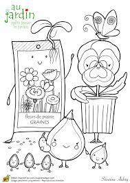 dessin pour apprendre à planter des fleurs à colorier enfant