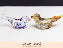 pair glass bird ornaments vintage shop retro china glassware