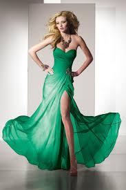 green chiffon strapless side slit formal dress