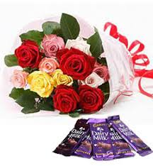Roses Bouquet Send Buy U0026 Order 10 Mix Roses Bouquet And 5 Dairy Milk Chocolate