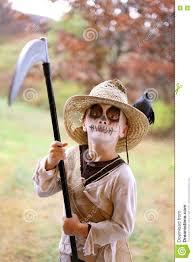 scarecrow halloween child dressed in scary scarecrow halloween costume stock photo