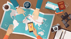 Map A Trip People Planning A Trip Around The World They Are Pointing On