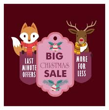 christmas sale christmas sale banner design with stylized animals vectors stock