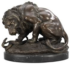 barye lion sculpture antoine louis barye after lion et serpent bukowskis