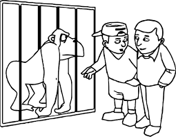 zoo gorilla and children coloring page wecoloringpage