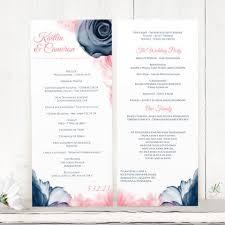 wedding program printable wedding program template tea length watercolor bouquet navy pin