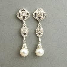 bridesmaid pearl earrings swarovski and pearl bridal earrings vintage style