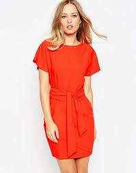 asos asos pencil dress with wrap skirt and obi belt