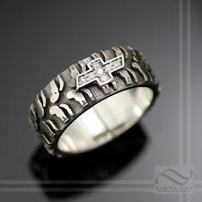 tire wedding rings custom mens chevy tire tread ring with cz sterling silver within