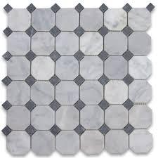 carrara white 2 inch octagon mosaic tile w black dots tumbled
