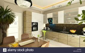 3d rendering modern kitchen design with flush cabinet stock photo