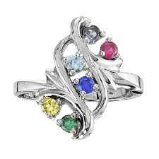 floral bold 6 birthstone mothers ring