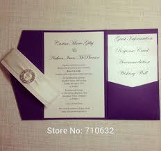 wedding inserts purple color pocketfold wedding invitation with rhinestone culster