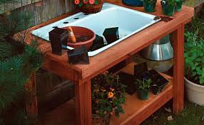 Garden Potting Bench A Potting Table With A Twist Project Plan Fine Gardening