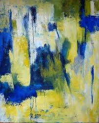 bold colors paintings abstract expressionism blue dark blue white yellow