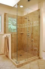 chic glass shower stall kits plus silver handle and tile wall for