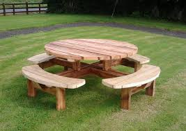 Round Picnic Tables Wooden Bench Pub Benches Patio Furniture