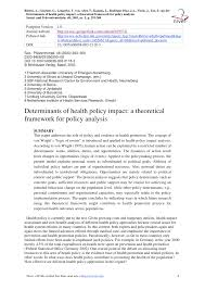 theoretical framework research paper determinants of health policy impact a theoretical framework for
