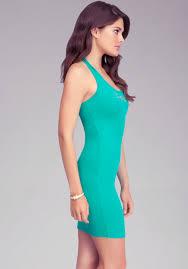 bebe logo rib halter dress in green lyst