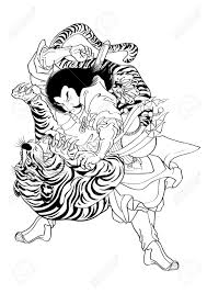 vector illustration graphic japanese style tiger