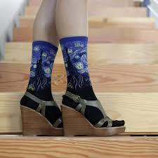 knee high halloween socks starry night cool art socks for women