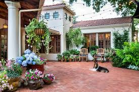potting plants ideas patio mediterranean with hanging potted plant