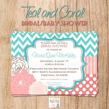 teal and coral bridal baby shower invitation you print