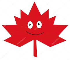 abstract autumn red leaf of maple with a smile flat style logo