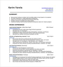 Resume Templates For Applications Android Developer Resume Template 10 Free Word Excel Pdf