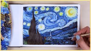 how to paint the starry night with acrylic paint step by step art journal thursday ep 24