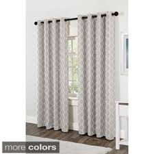 Beige And Gray Curtains Vcny Flocked 84 Inch Back Tab Curtain Panel Affordable